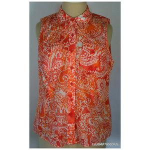 Sleeveless Petite Red & Orange Collared Shirt PS